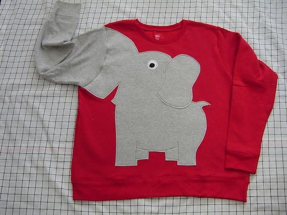Fun Elephant Trunk sleeve sweatshirt ladies M BRIGHT RED