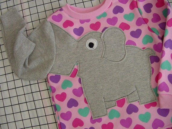 Elephant sweater elephant  trunk sleeve childrens elephant sweatshirt PINK HEARTS infant girls 18  months