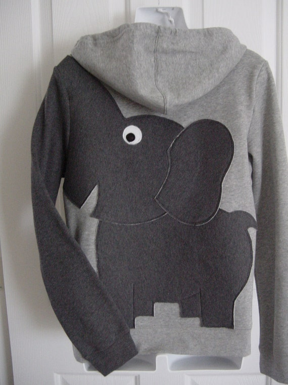 ZIP HOODIE Elephant Trunk BACK sleeve sweatshirt sweater jumper LADiES m grey and charcoal oR CUSTOMiZE your own