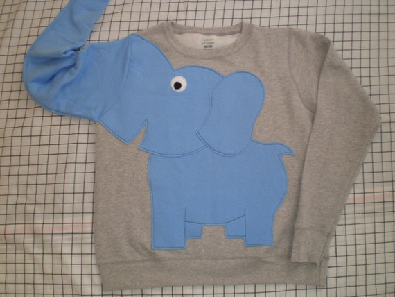 Elephant Trunk sleeve sweatshirt sweater jumper LADiES S light grey and light blue OR CUSTOMiZE your own