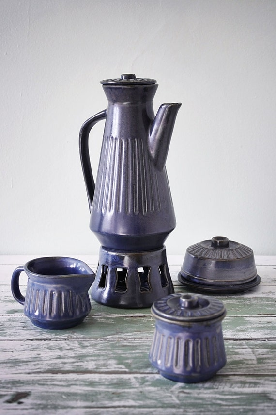 Blue gray pottery coffee set : Pot and warmer stand, butter dish, sugar bowl and creamer