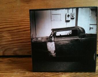 "Old Car Photo Block 4"" X 4"""