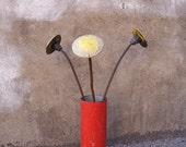 Industrial Home Decor - Steam Punk Flower made from found objects. Yellow Round Rebar Art Flower.  Reflectus Orbitus