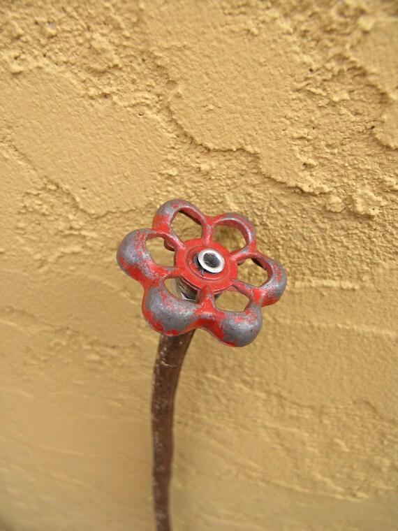 Dusty Red Steampunk Found Object Flower