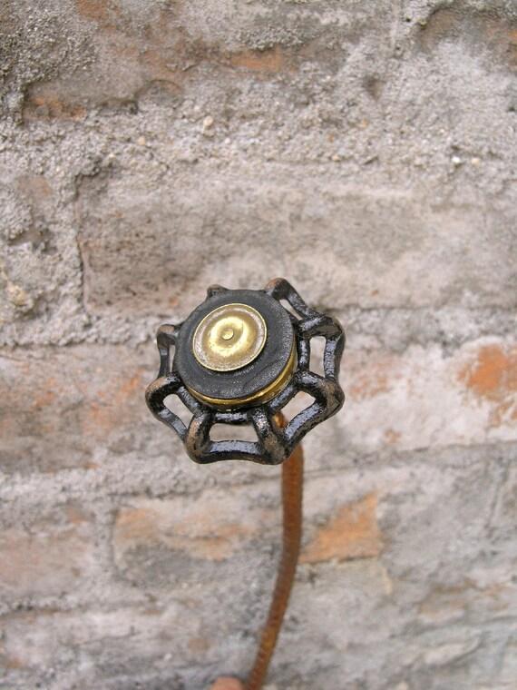 One Black Metal Art Flower, home or garden. Found Object Steam Punk Flower - Metal Sculpture