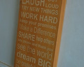 Family Rules Subway Art - Wood Sign - beehive color
