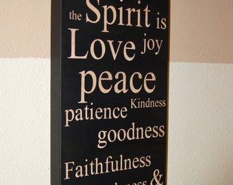 Family Values Subway Art Sign, The Fruit of the Spirit, wood sign, Easter