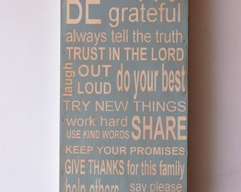 Family Rules Subway Style Art - Wood Sign --distressed