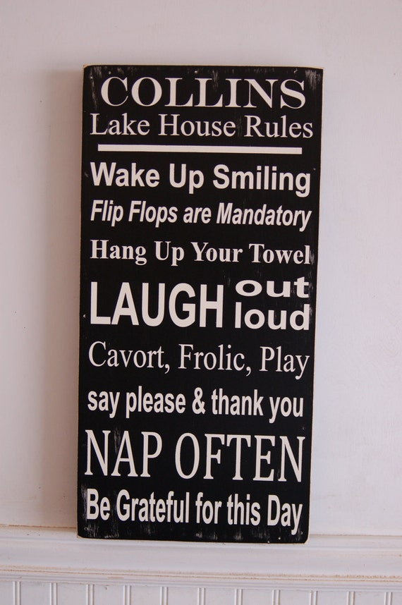 Lake House Family Rules Subway Style Art Wood Sign