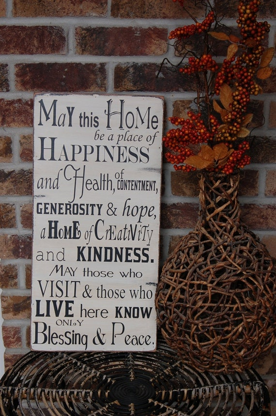 May this home... wood sign, very old world style, rustic, great Christmas gift