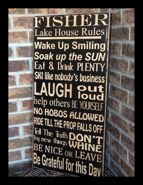 extra large lake house family rules subway sign  18x36  design your own