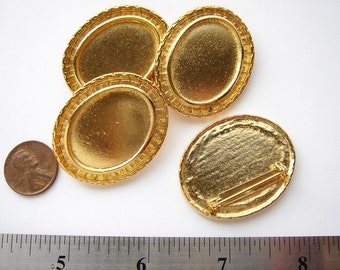 4 Gold tone oval vintage brooch settings HC007.