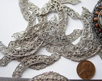 10 Vintage silver tone filigree pieces HC022.