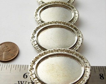 4 Silver tone oval vintage brooch settings HC051.
