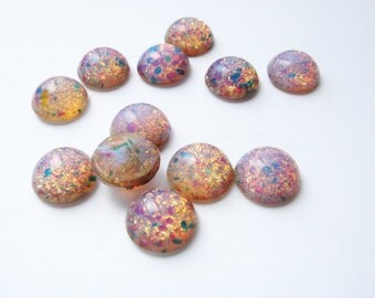 12 vintage glass fire opal round cabochons HC089.