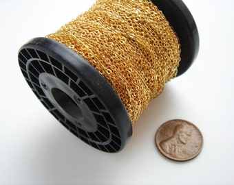 25 meter spool of tiny gold tone vintage chain HC098