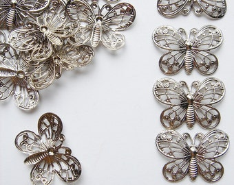 20 Vintage Silver tone Butterfly Filigree pieces HC121.