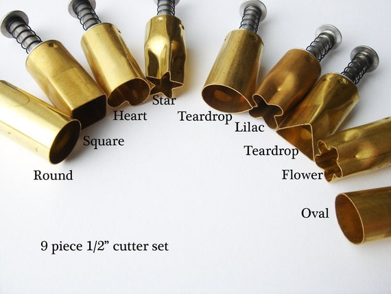Brand New 9 piece 1/2 inch Kemper Kutter set heart, flower, round, teardrop, star, triangle, square, oval, and lilac HC209