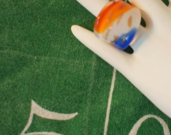 Glass Ring-Orange,White and Blue with Gold Flecks Glass Dome Ring-Auburn, Broncos, Knicks, Mets