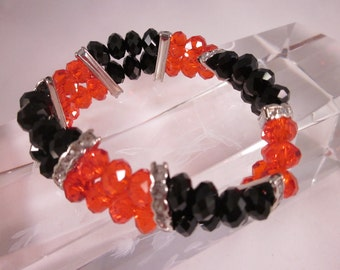 CRYSTAL STRETCH BRACELET- Buckeyes,Dawgs,Tide,Heat,Bulls,Gamecocks,Falcons-Red & Black Rows of Crystals Stretch Bracelet/ Rhinestone Spacers