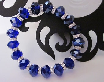 Cobalt Blue Crystal Bracelet Colts,Cowboys,Kentucky,Magic,Duke,Yankees,NC - Cobalt Blue Crystal Bracelet with Rhinestone Spacers