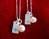 Monogram Necklace Hand Stamped Sterling Silver Initial Set of Two