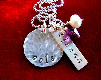 Sterling Silver Hand Stamped Hammered Disc Necklace with Two Names