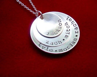 Stacked Kids Name Necklace Hand Stamped Sterling Silver Layered Discs