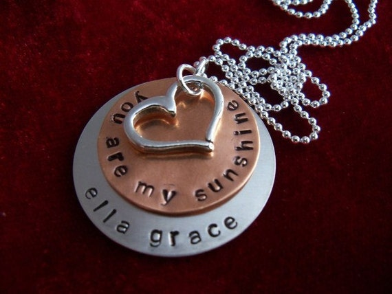 You Are My Sunshine Sterling Silver and Copper Hand Stamped Necklace