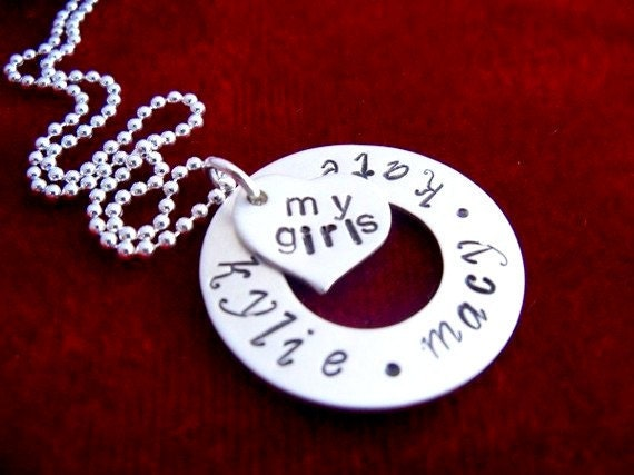 Mother Necklace with Kids Names Hand Stamped Sterling Silver Washer