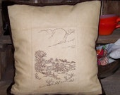 Homestead Hand Embroidered Pillow Cover