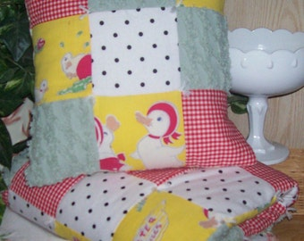 Little Duckie You're the One Yellow, Red, and Green Vintage Quilt and Pillow Cover Set