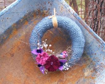 Blue Yarn Wreath with Nesting Bird and Crocheted Flowers