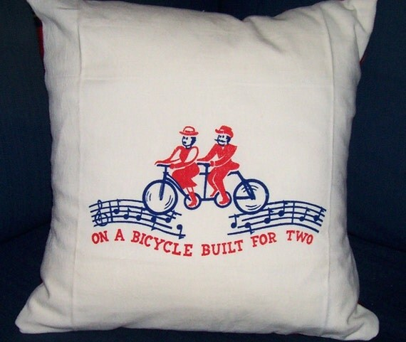 On a Bicycle Built for Two Pillow Cover