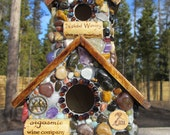 Outdoor Mosaic art Birdhouse with Amethyst Stones,beach  Agates and wine corks