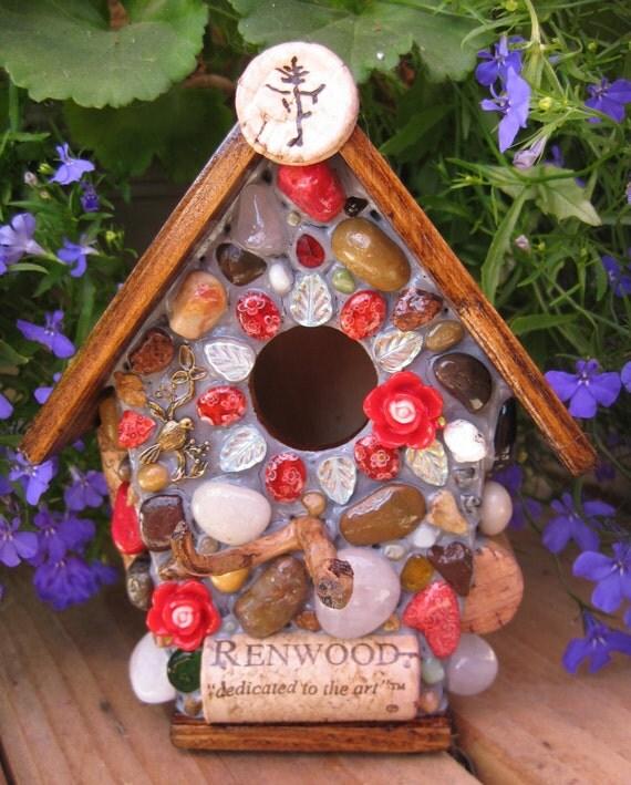 Mosaic Rose Birdhouse with wine cork art