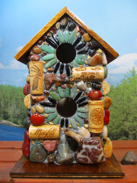 Large Birdhouse Mosaic Wine Cork Amp Natural Stone Outdoor Art