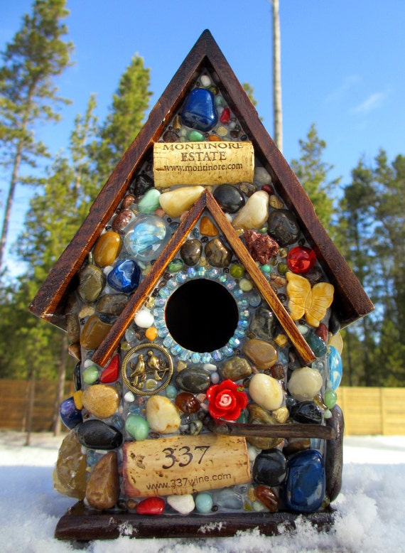 "Mosaic Birdhouse with Blue Gem Stones and Wine Corks ""337 Montinore Estate"""