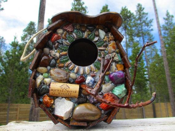 Large Birdhouse Mosaic Wine Cork & Natural Stone Outdoor Art