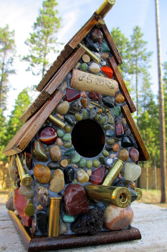 Fathers Day Birdhouse with Recycled Bullet Shell Casings, Wood Rounds and more