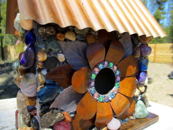 Whimsical Garden Birdhouse with Colorful Agates, Mosaic