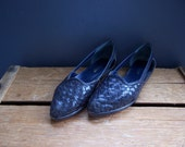 Woven Leather Flats Sandals Navy Blue, Size 6 - Vintage