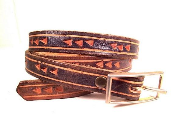 Leather Skinny Belt Dark Olive with Chevrons, Vintage