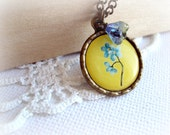 Yellow Blue Flower Small Pendant. Antique Bronze Necklace. Vintage Brass Necklace.
