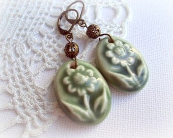 Green Porcelain Vintage Earrings. Antique Bronze Filigree Dangle Earrings. Spring Flower Earrings. OOAK
