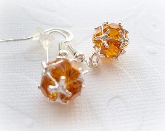Sterling Silver Small Earrings. Citrine Sparkly Crystal Tiny Earrings.