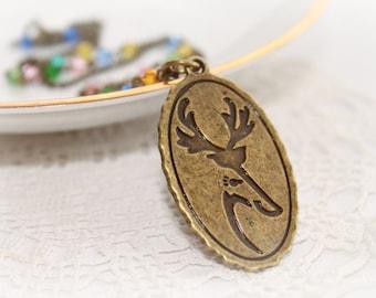 COUPON: SALE2016 Antique Bronze Necklace. Long Chain Vintage Necklace. Reindeer Portrait Pendant Necklace.
