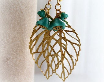 Turquoise Gold Leaf Earrings. Dangle Flower Earrings. Large Earrings. Filigree Leaves Long Earrings.