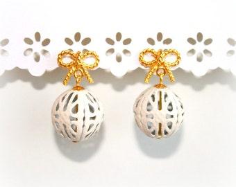 LIMITED COLLECTION White Enameled Filigree Gold Bow Earrings. Dangle Balloon Earrings. Wedding Earrings. Graduation Earrings