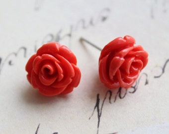 Orange Coral Ear Studs. Fire Red Rose Flower Earrings. Summer Bridal Earrings. Bridesmaid Earrings. Wedding Jewelry.